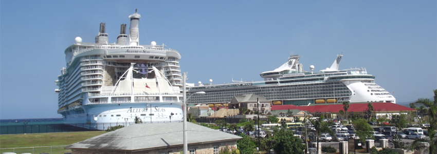 Cruise ships docked at the Falmouth Cruise Ship Pier | Book Jamaica Excursions | bookjamaicaexcursions.com | Karandas Tours